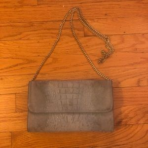 Italian Gray Embossed Leather Crossbody Bag